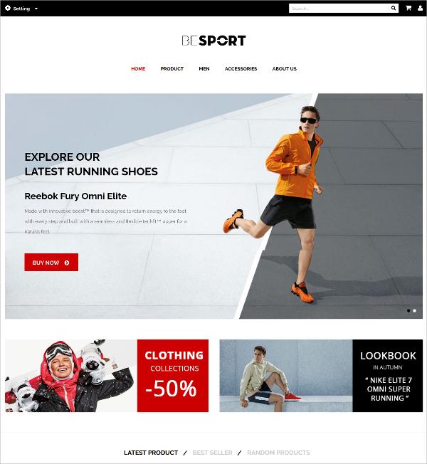 Minimalism Sports Magento Theme $85