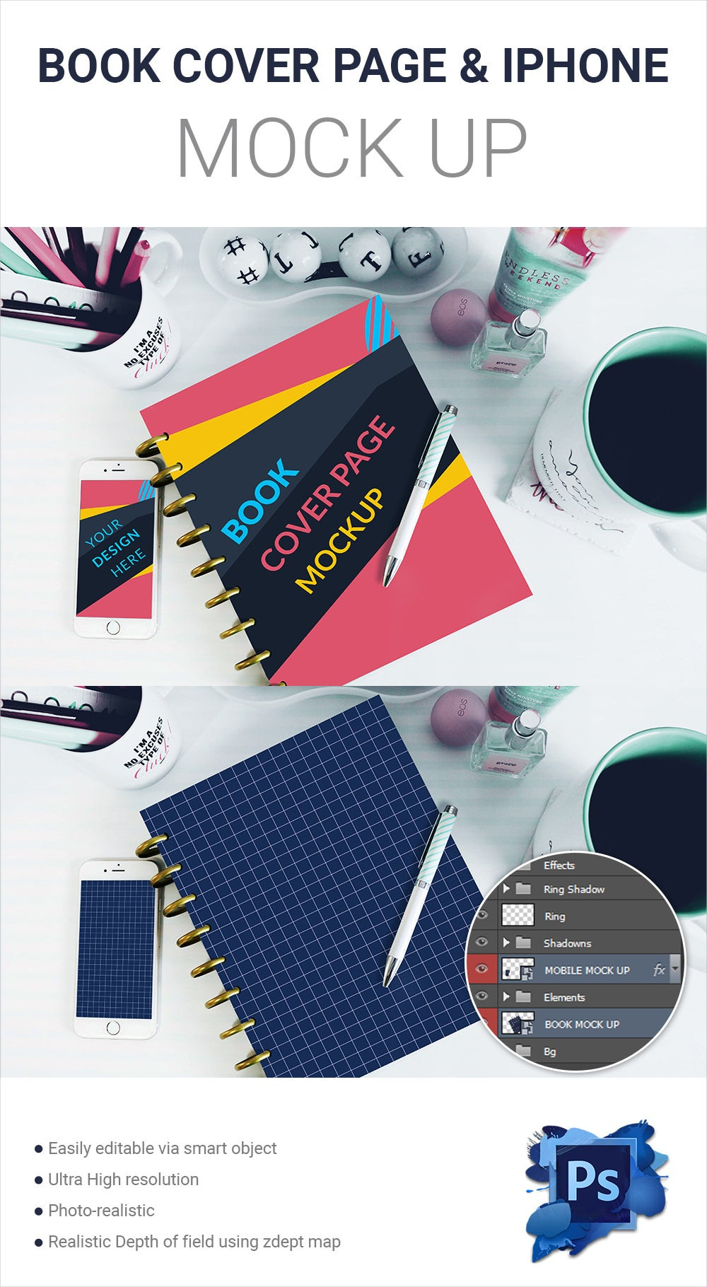 Book Cover Page & iPhone Mockup Free Download