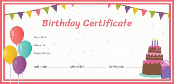 Birth certificate template 44 free word pdf psd for Birthday gift certificate template
