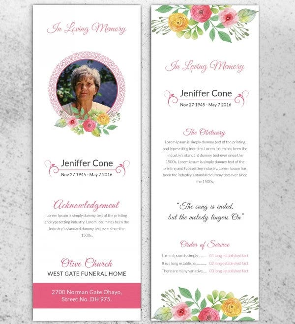bookmark card template for memorial service