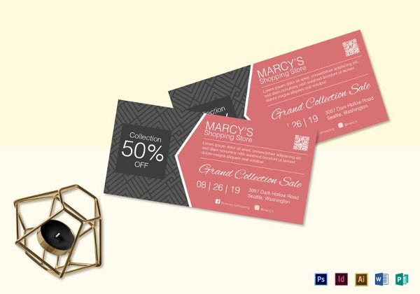 editable shopping discount coupon template