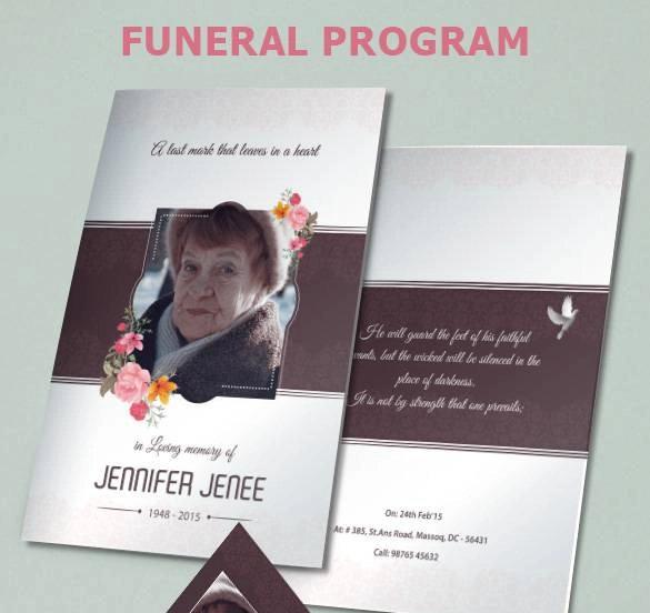 floral funeral program brochure psd