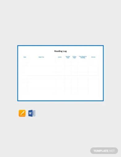 free reading log template
