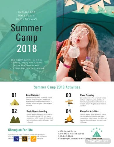 free summer camp poster design template