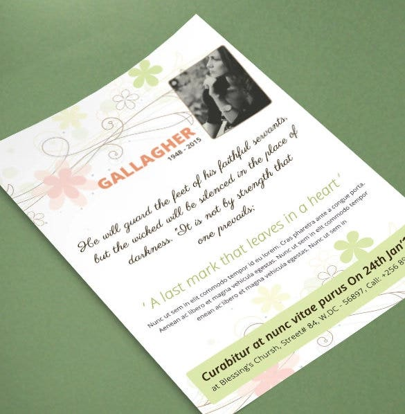 funeral invitation card psd format