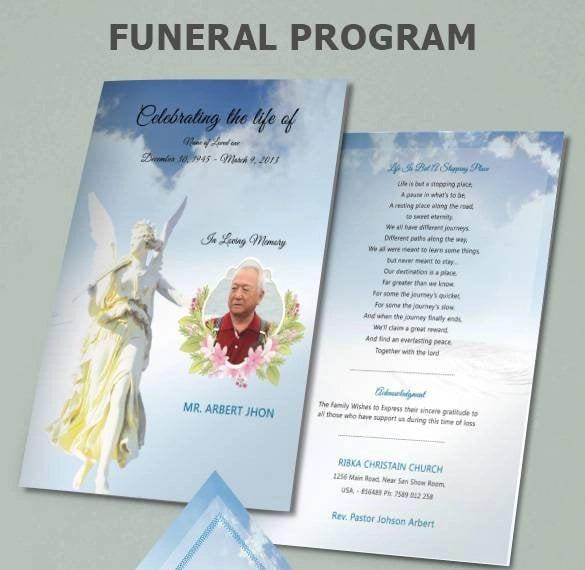 funeral program bi fold template psd