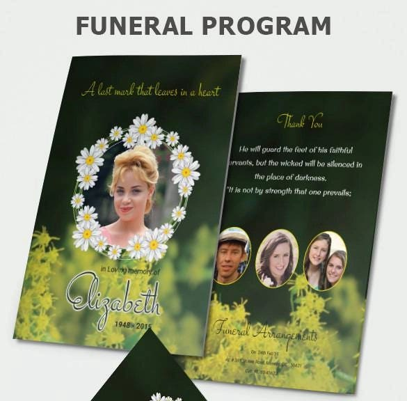 funeral program brochure with photo psd