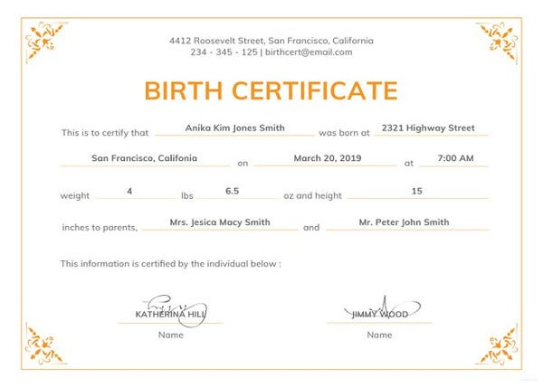 Birth Certificate Template 44 Free Word Pdf Psd