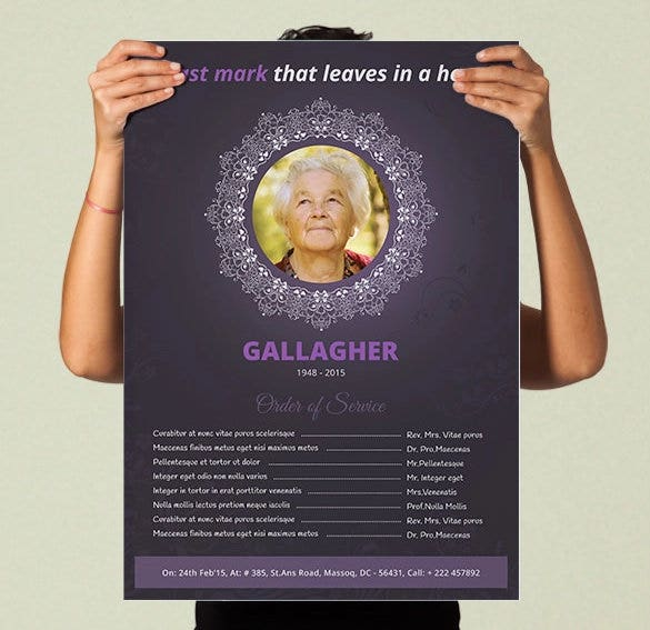 printable funeral program poster mockup psd a3 size