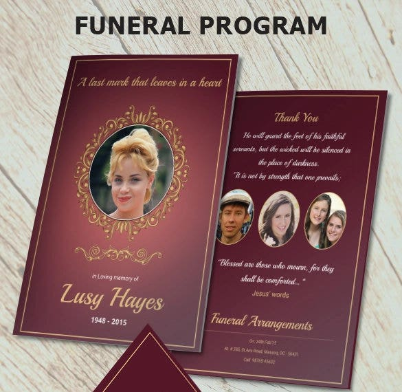 printable memorial service funeral brochure