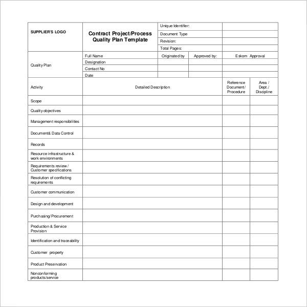project-quality-plan-template