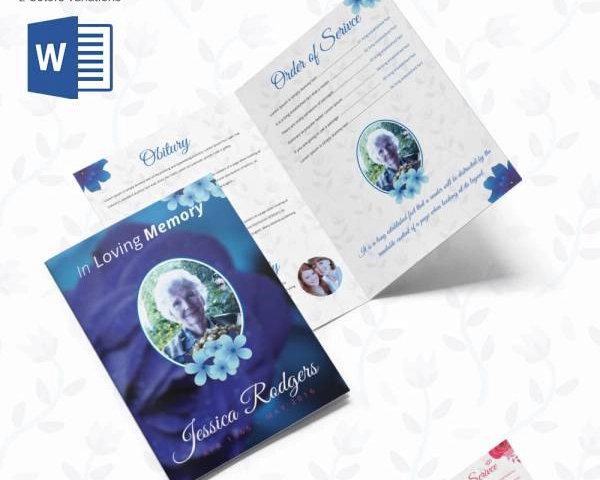 rose flower funeral program bi fold brochure
