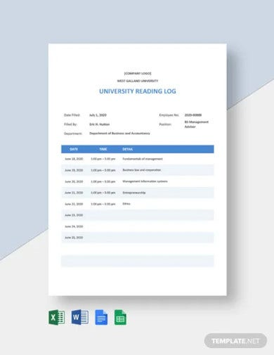university reading log template