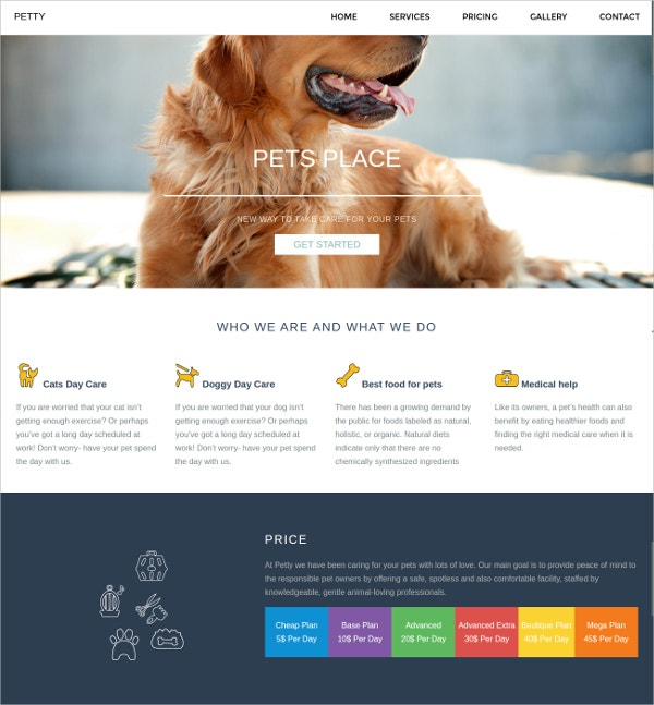 Responsive Pet website Theme $6