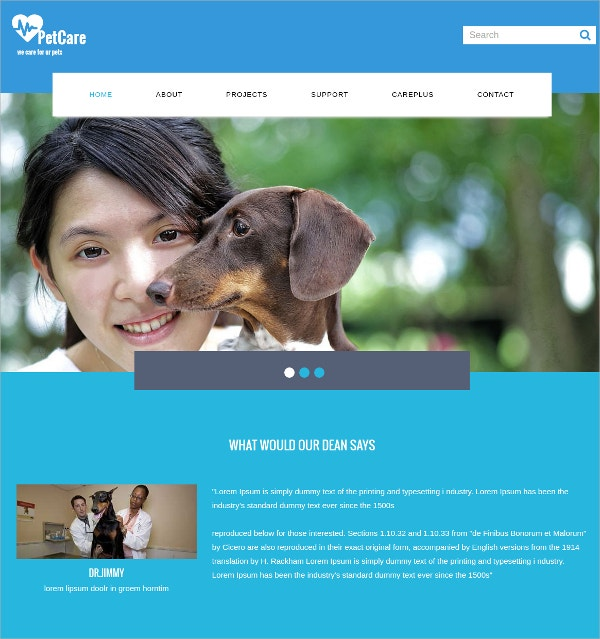 Pet Care Website Template