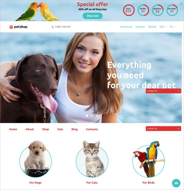 Dog & Pet Opencart Website Template