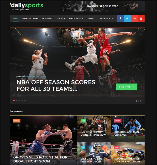 Sports News Website Template $75