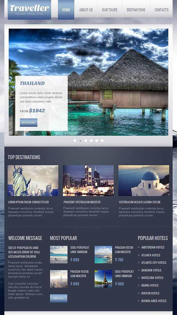 Travel Guide Moto CMS HTML Website Template