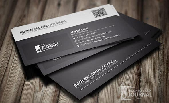 Black White QR Code Business Card Template