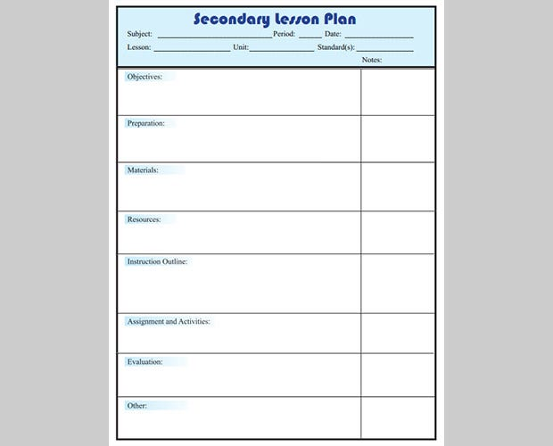 Free Lesson Plan Templates Free Premium Templates - Secondary lesson plan template