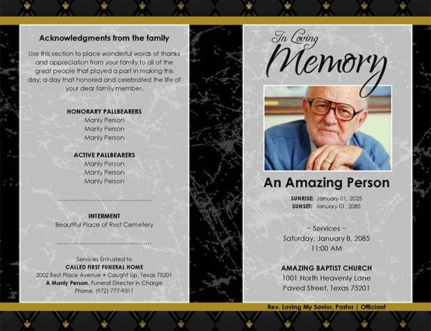 20 funeral program templates free word excel pdf psd for Free downloadable funeral program templates