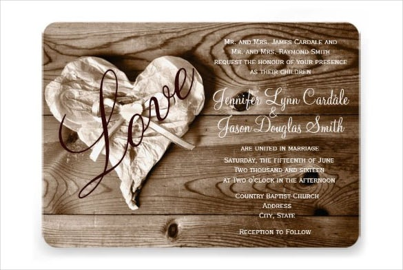 Rustic Country Wedding Invitation Design Template
