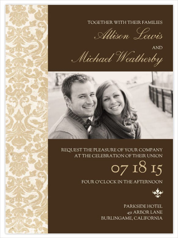 Wedding invitation design templates 34 free jpg psd indesign chocolate and gold wedding invitation template stopboris Images