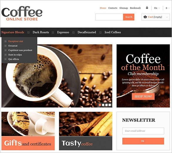 responsive coffee store prestashop theme