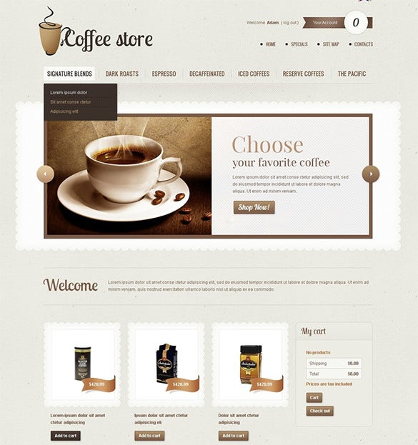 coffee store restaurant prestashop theme