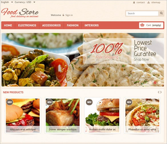 simple restaurant food store prestashop template