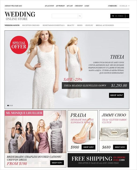 online wedding store magento template