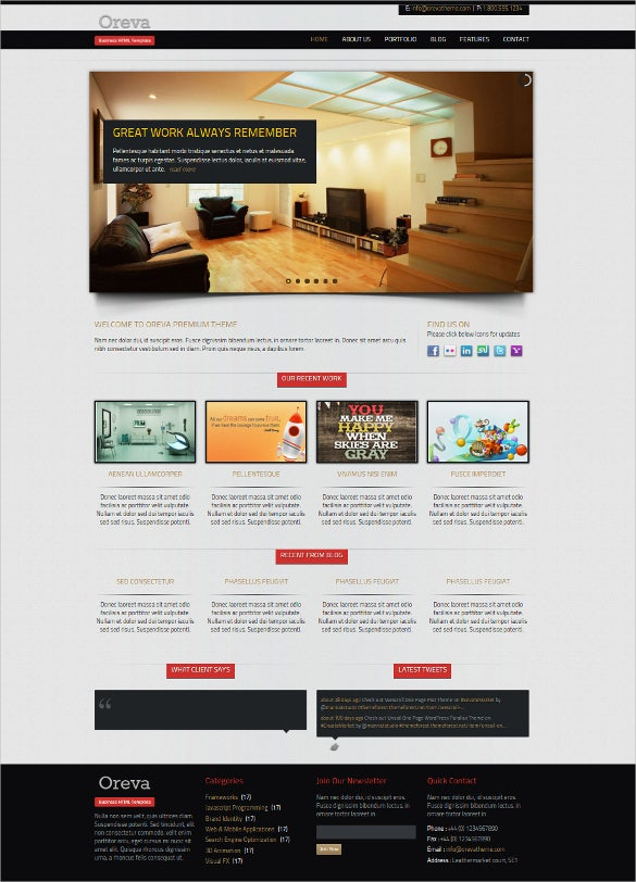 business responsive blog website template