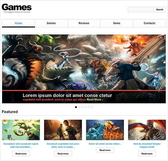 games responsive website the