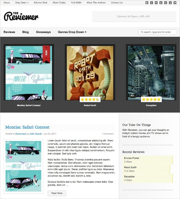 movie reviews wordpress website template