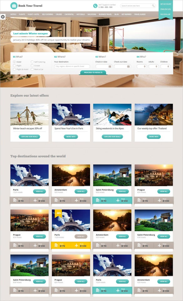 book your travel html website template