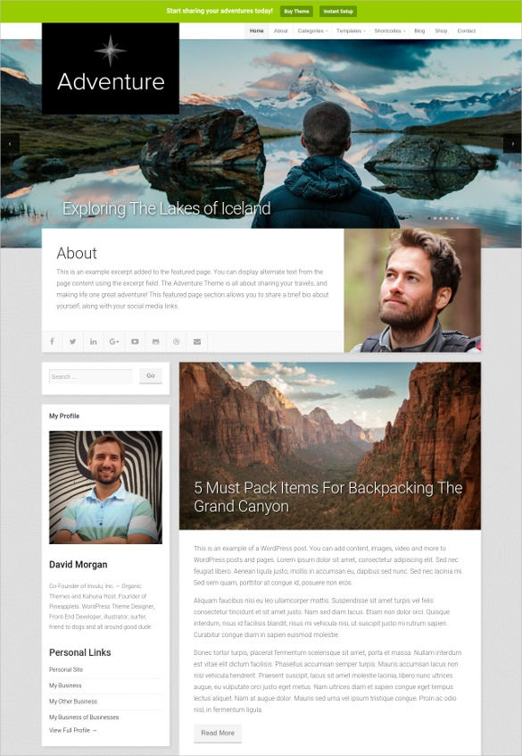 adventure wp website template