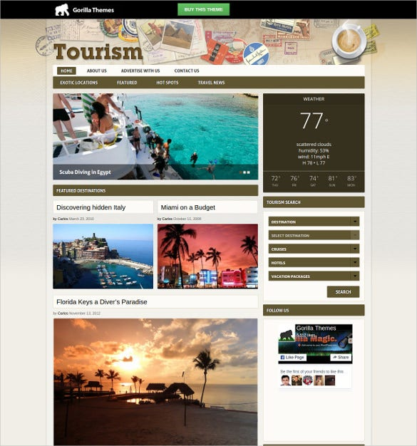 tourism wp website template
