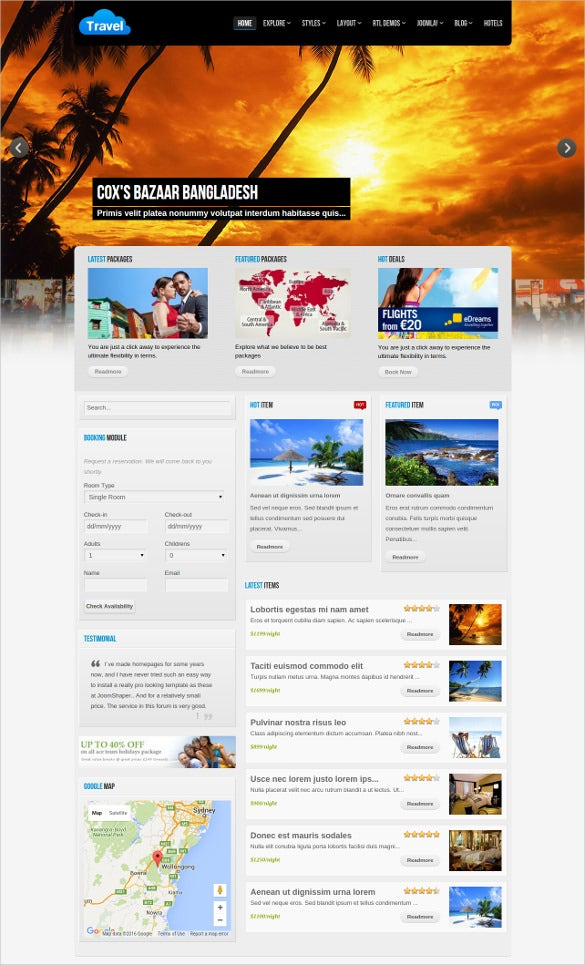 travel joomla website template