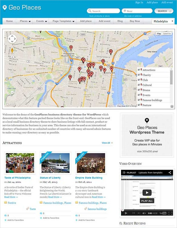 geo places wp website template