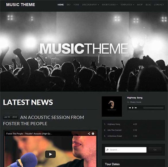 music wordpress website template