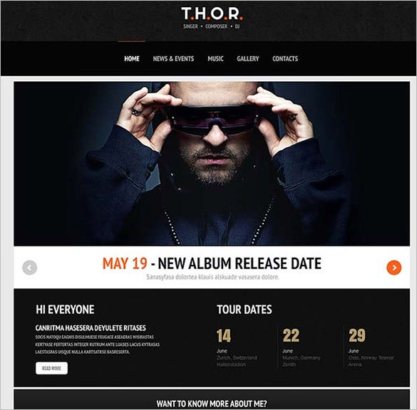 original singer wordpress website template
