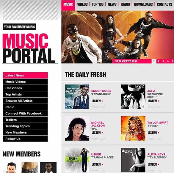 music portal wordpress website template