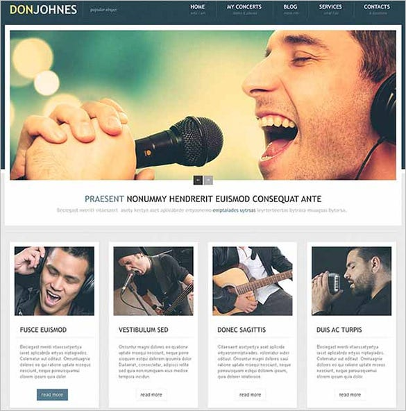 singer wordpress website template