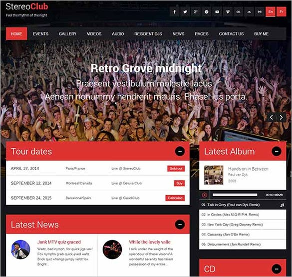 stereoclub wordpress website template