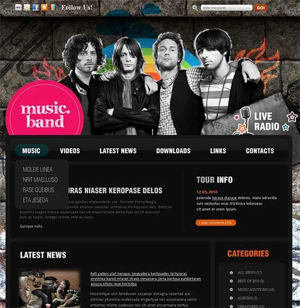 Music Website Themes Templates Free Premium Templates - Music website templates