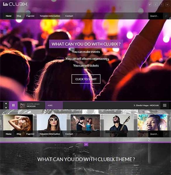 clubix html css3 website template