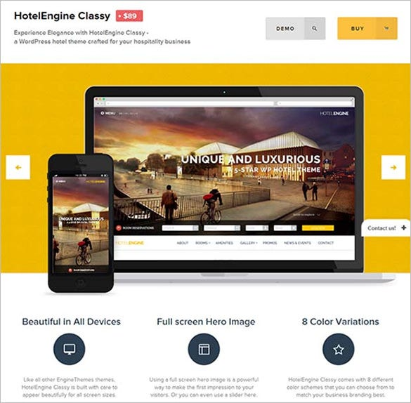 hotel engine classy wordpress website template