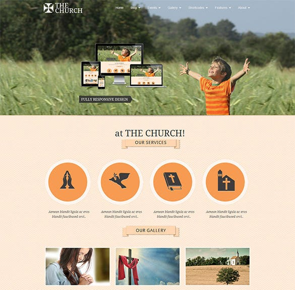 excellent church website theme