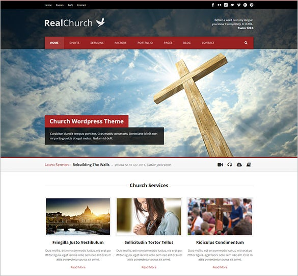 real church website theme