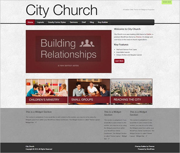 city church website template